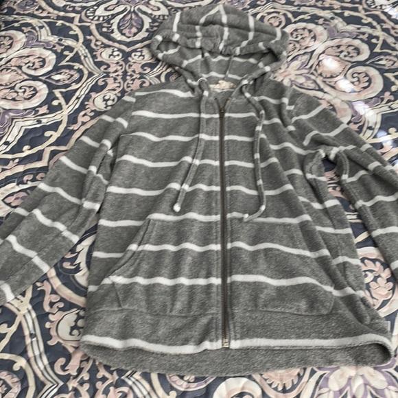Pink republic women's xs gray striped terry hoodie
